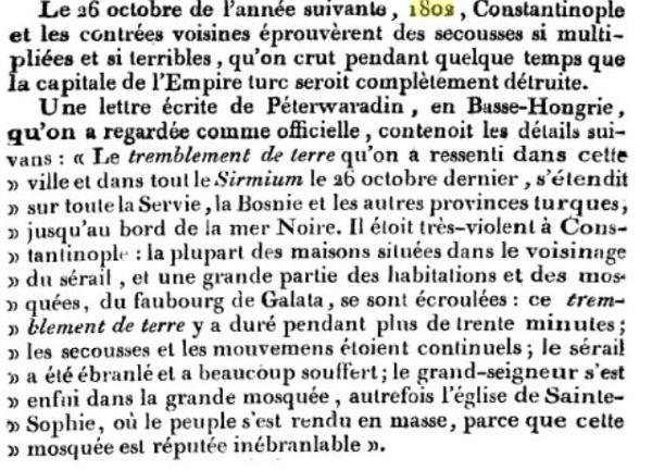 Cutremur 1802 - Nouveau Dictionnaire d'histoire naturelle