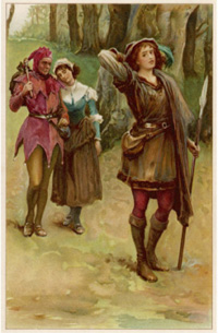 """As you like it. Rosalind with Touchstone and Audrey in the forest of Arden"", Walter Paget"